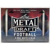 2021 Leaf Metal Draft Football Red White & Blue Hobby Box