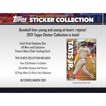 2021 Topps Baseball MLB Sticker Collection 16-Box Case (Presell)