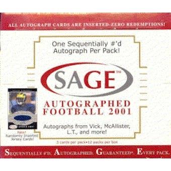 2001 Sage Autographed Football Hobby Box