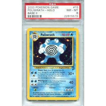 Pokemon Base Set 2 Poliwrath 15/130 PSA 8