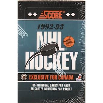 1992/93 Score Bilingual Hockey Jumbo Box