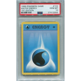 Pokemon Base Set 1st Edition Shadowless Water Energy 102/102 PSA 10 GEM MINT