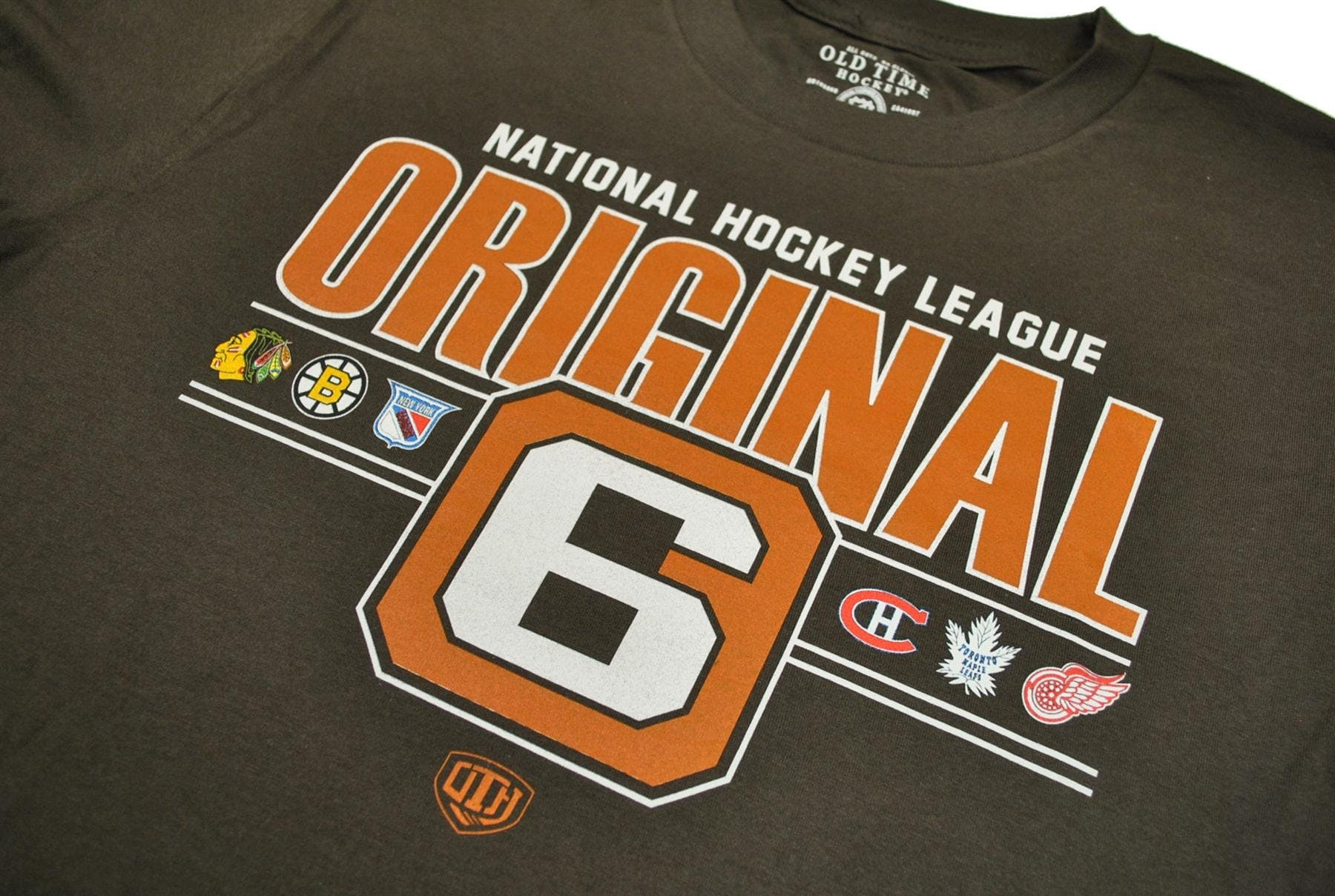 NHL Original 6 Logo Old Time Hockey Perkis Dark Chocolate Tee Shirt cc0323827