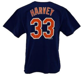 New York Mets #33 Matt Harvey Majestic Royal Name Number Tee Shirt (Adult XXL)