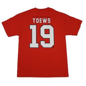 Chicago Blackhawks #19 Jonathan Toews Reebok Red Name & Number Tee Shirt