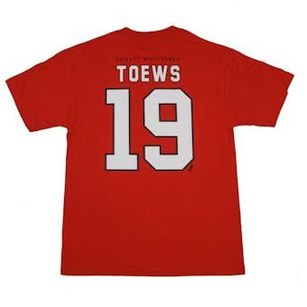 Chicago Blackhawks #19 Jonathan Toews Reebok Red Name & Number Tee Shirt (Adult XXL)
