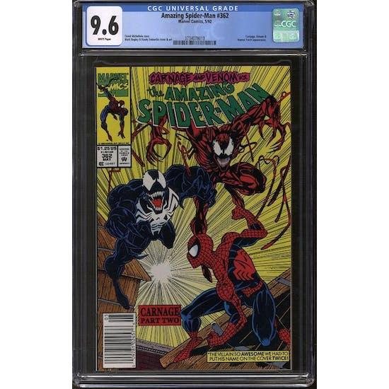 Amazing Spider-Man #362 CGC 9.6 (W) *3734078018*