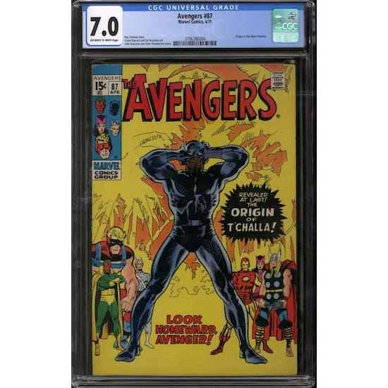 Avengers #87 CGC 7.0 (OW-W) *3796396004*