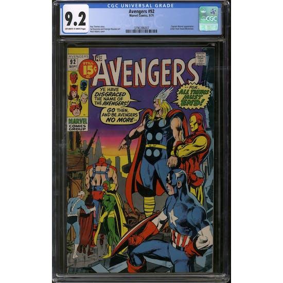 Avengers #92 CGC 9.2 (OW-W) *3796396007*