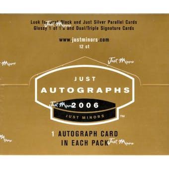 2006 Just Minors Just Autographs Baseball Hobby Box