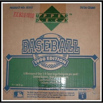 1990 Upper Deck Series 1 Baseball Wax 20-Box Case