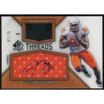 2012 Upper Deck SP Authentic Rookie Threads Autographs #RTJB Justin Blackmon Autograph /75