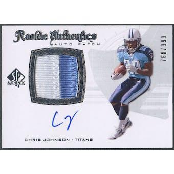 2008 SP Authentic #288 Chris Johnson Rookie Patch Auto #768/999