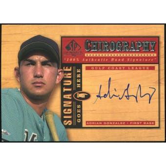 2001 Upper Deck SP Top Prospects Chirography #AG Adrian Gonzalez Autograph