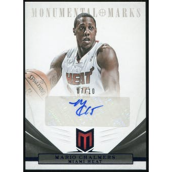 2012/13 Panini Momentum Monumental Marks Blue #30 Mario Chalmers Autograph 7/10
