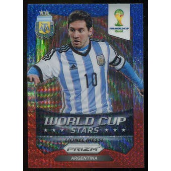 2014 Panini Prizm World Cup World Cup Stars Prizms Blue and Red Wave #1 Lionel Messi