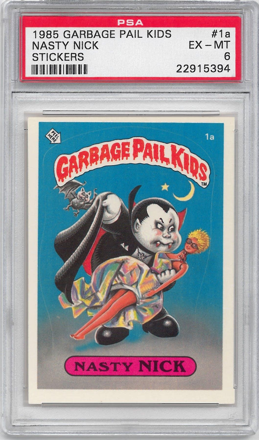 6dd44bf87f6 1985 Garbage Pail Kids Stickers  1a Nasty Nick PSA 6 (EX-MT)  5394 ...