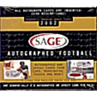2002 Sage Autographed Football Hobby Box