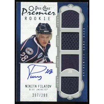 2008/09 Upper Deck OPC Premier #47 Nikita Filatov RC Jersey Autograph /299