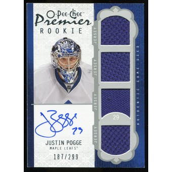 2008/09 Upper Deck OPC Premier #51 Justin Pogge RC Jersey Autograph /299