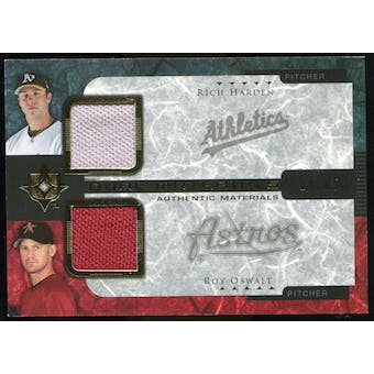 2005 Upper Deck Ultimate Collection Dual Materials #HO Rich Harden/Roy Oswalt Jersey /15