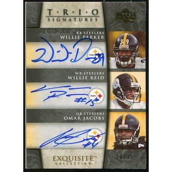2006 Upper Deck Exquisite Collection Signature Trios #PRJ Willie Parker/Willie Reid/Omar Jacobs Autograph /15
