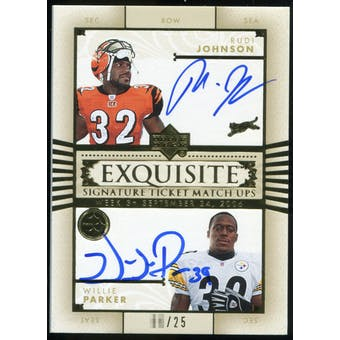 2006 Upper Deck Exquisite Collection Ticket Matchup Signatures #JP Rudi Johnson Willie Parker /25