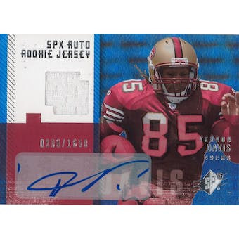 2006 Upper Deck SPX Football #189 Vernon Davis Auto Rookie Jersey #/1650