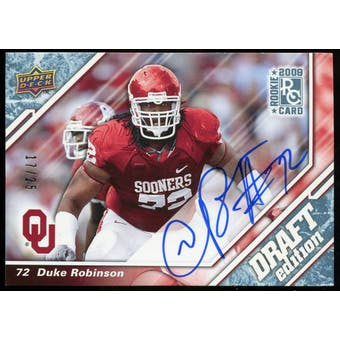2009 Upper Deck Draft Edition Autographs Blue #39 Duke Robinson Autograph /25