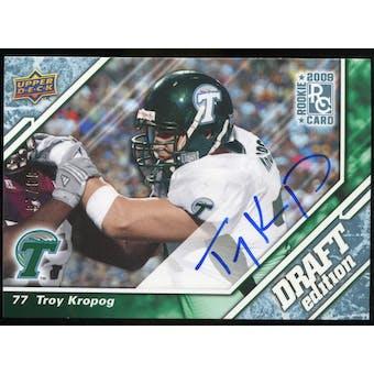 2009 Upper Deck Draft Edition Autographs Blue #68 Troy Kropog Autograph /25