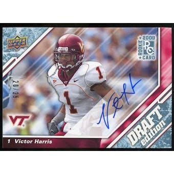 2009 Upper Deck Draft Edition Autographs Blue #72 Victor Harris Autograph /25
