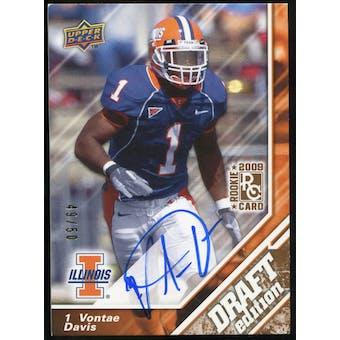 2009 Upper Deck Draft Edition Autographs Copper #73 Vontae Davis Autograph /50