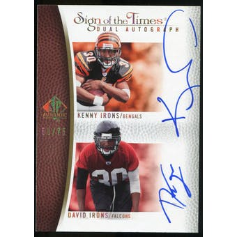 2007 Upper Deck SP Authentic Sign of the Times Duals #II Kenny Irons/David Irons Autograph /75