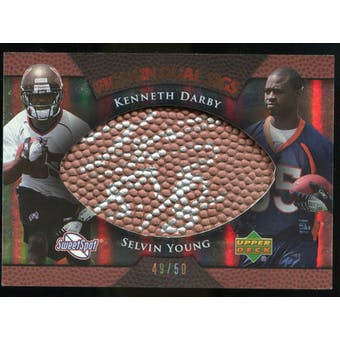 2007 Upper Deck Sweet Spot Pigskin Signatures Dual #DY Kenneth Darby/Selvin Young Autograph /50