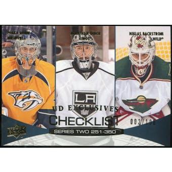 2011/12 Upper Deck Exclusives #449 Pekka Rinne/Jonathan Quick/Niklas Backstrom /100
