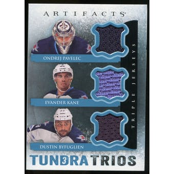 2013-14 Upper Deck Artifacts Tundra Trios Jerseys Blue #T3BPK Ondrej Pavelec/Evander Kane/Dustin Byfuglien C