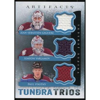 2013-14 Upper Deck Artifacts Tundra Trios Jerseys Blue #T3GSV Jean-Sebastien Giguere/Semyon Varlamov/Paul Stas