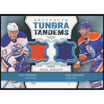 2013-14 Upper Deck Artifacts Tundra Tandems Jerseys Blue #TTAG Ales Hemsky/Sam Gagner B