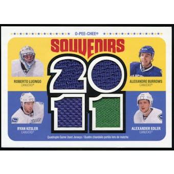 2011/12 Upper Deck O-Pee-Chee Souvenirs #NUCKS Roberto Luongo/Alexandre Burrows/Ryan Kesler/Alexander Edler E