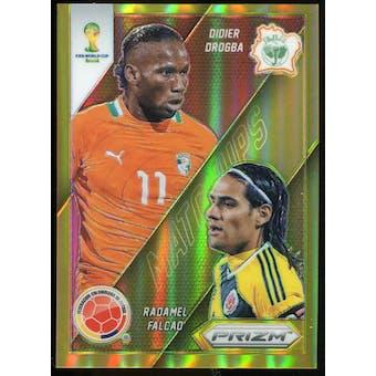 2014 Panini Prizm World Cup World Cup Matchups Prizms Gold #5 Didier Drogba Radamel Falcao 5/10