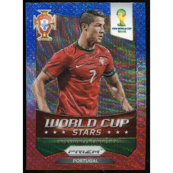 2014 Panini Prizm World Cup World Cup Stars Prizms Blue and Red Wave #28 Cristiano Ronaldo
