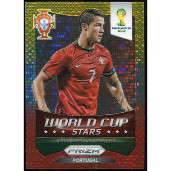 2014 Panini Prizm World Cup World Cup Stars Prizms Yellow Red Pulsar #28 Cristiano Ronaldo