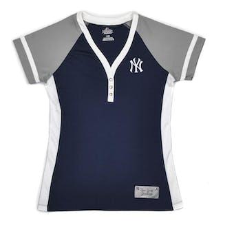 New York Yankees Majestic Navy League Diva 3 Button Performance Tee Shirt (Womens M)