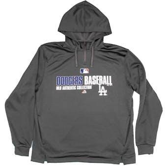 Los Angeles Dodgers Majestic Grey Team Favorite 1/4 Zip Performance Hoodie (Adult M)