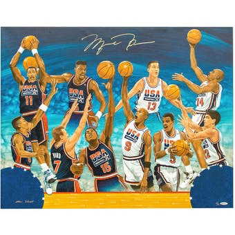 "Michael Jordan Autographed 1992 Olympic ""Dream Team"" Original Canvas 1 of 1 UDA"