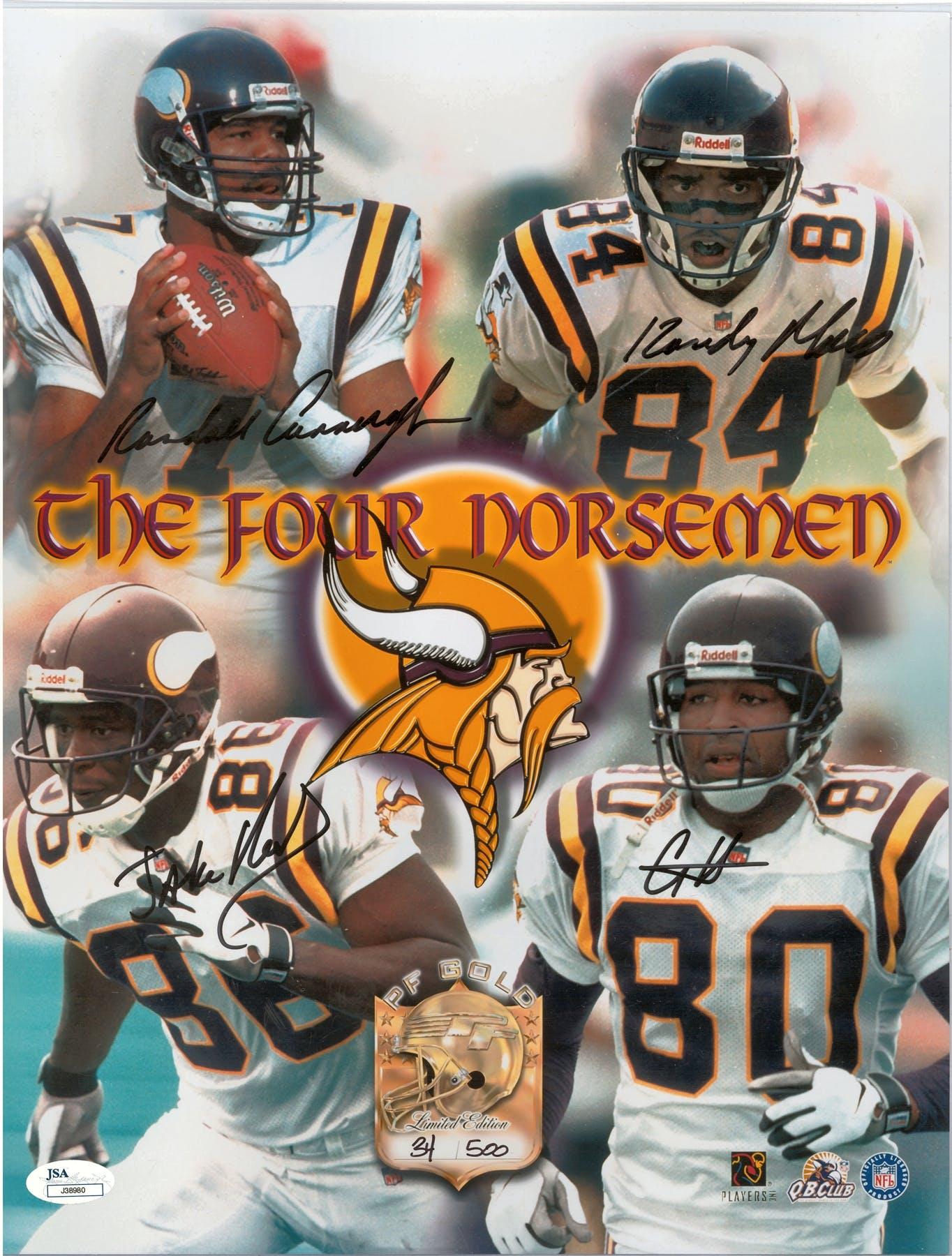 9a9bac5111c Minnesota Vikings Autographed 4 Norsemen 11x14 Cunningham ...