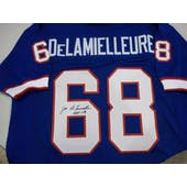Joe DeLamielleure Autographed Buffalo Bills Blue Football Jersey DACW
