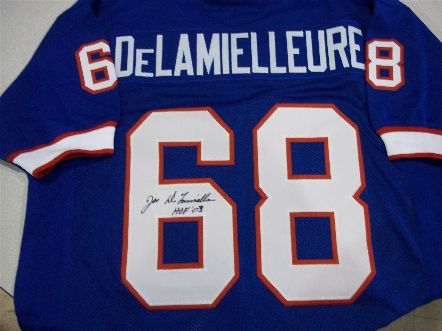 newest 0b591 a64b4 Joe DeLamielleure Autographed Buffalo Bills Blue Football Jersey DACW