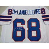 Joe DeLamielleure Autographed Buffalo Bills White Football Jersey DACW