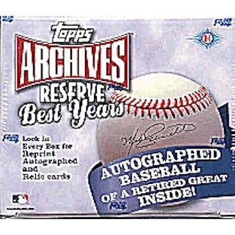 2002 Topps Archives Reserve Best Years Baseball Hobby Box